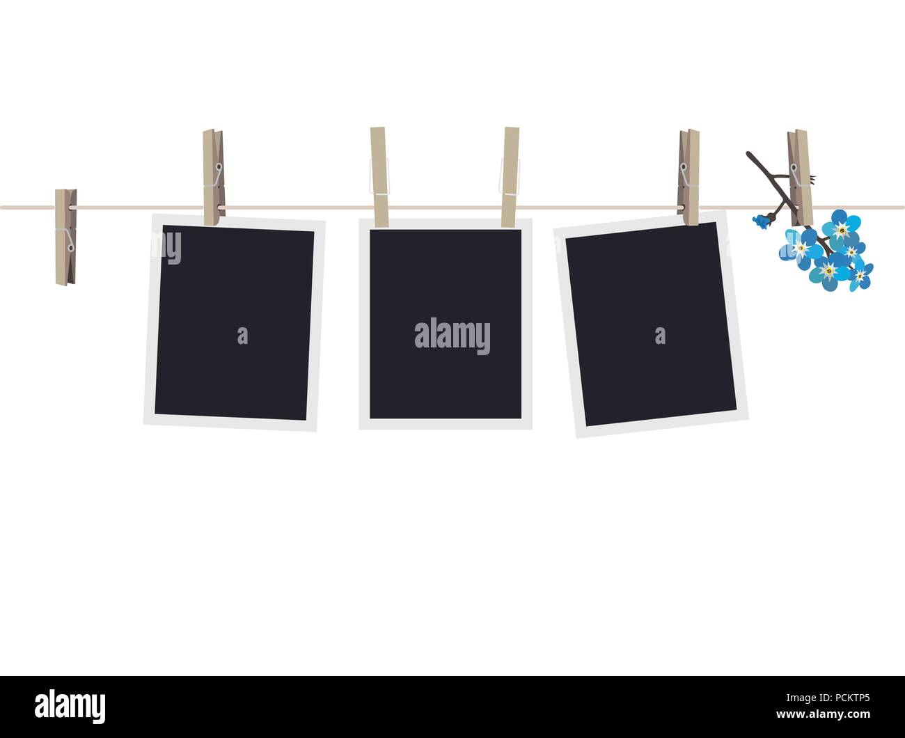 Blank photo frames set hanging on clothespins. Composition of blank ...