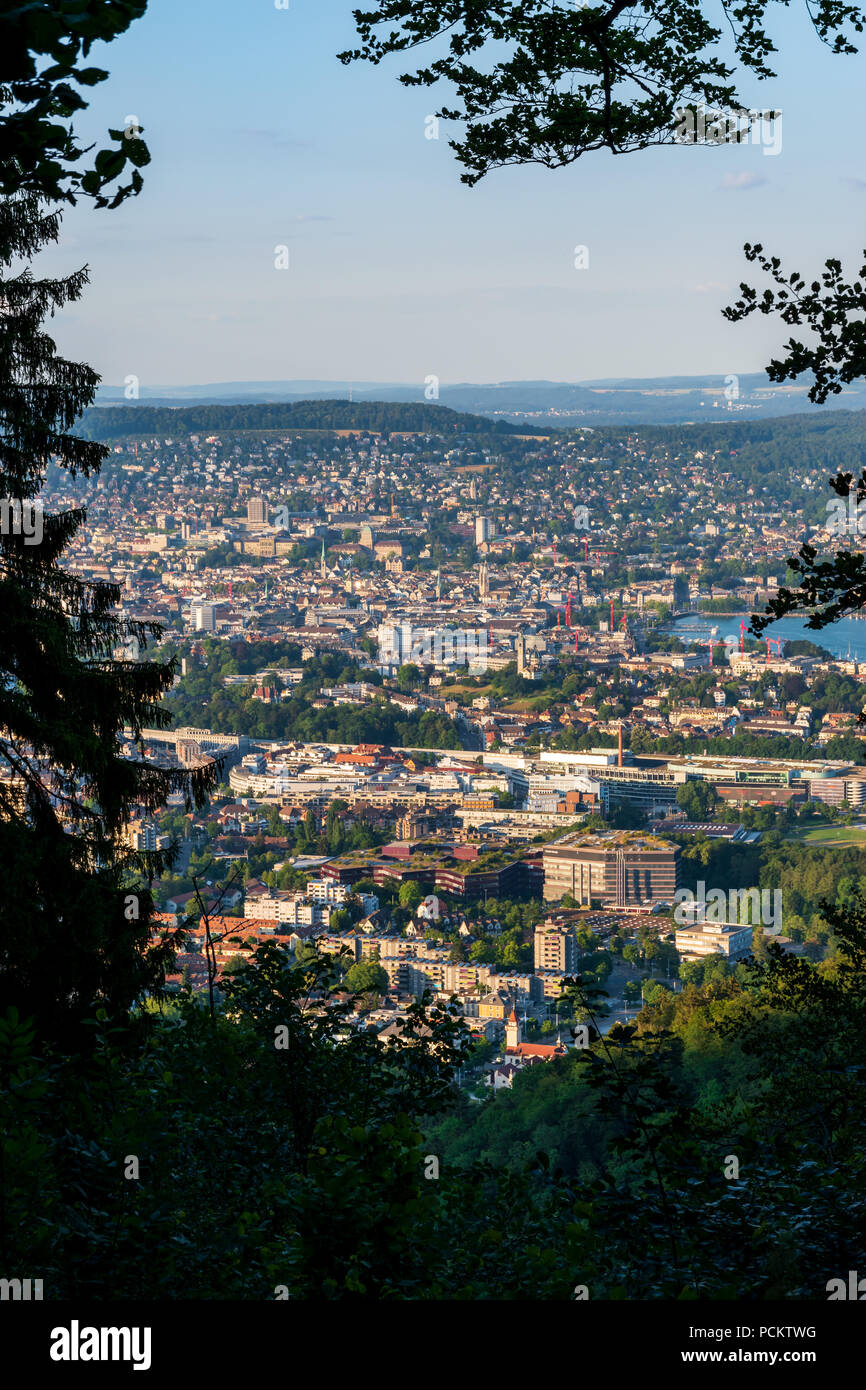 A view of Zurich from the Uetliberg - Stock Image