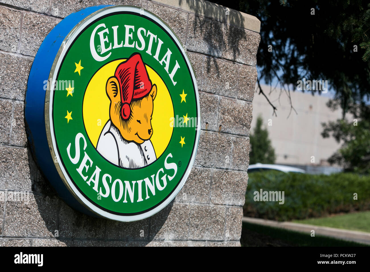 A logo sign outside of the headquarters of Celestial Seasonings in Boulder, Colorado, on July 21, 2018. - Stock Image
