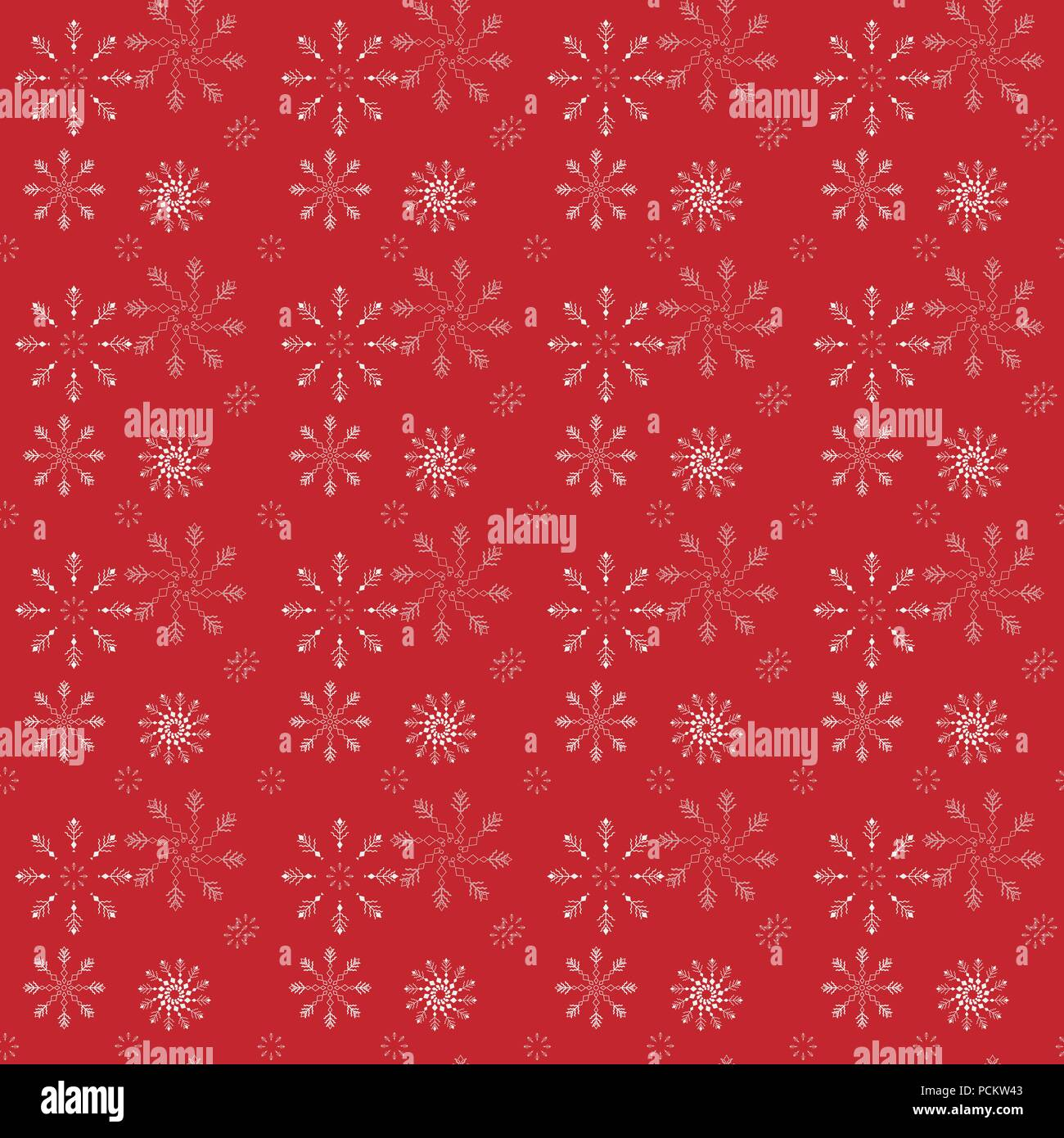 Winter Seamless Pattern With Little Flat White Snowflakes On Red Background New Year Backdrop Vector Christmas For Fabric Textile