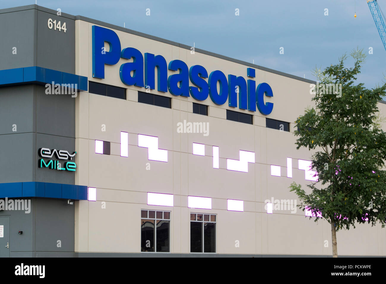 A logo sign outside of a facility occupied by Panasonic in Denver, Colorado, on July 21, 2018. - Stock Image