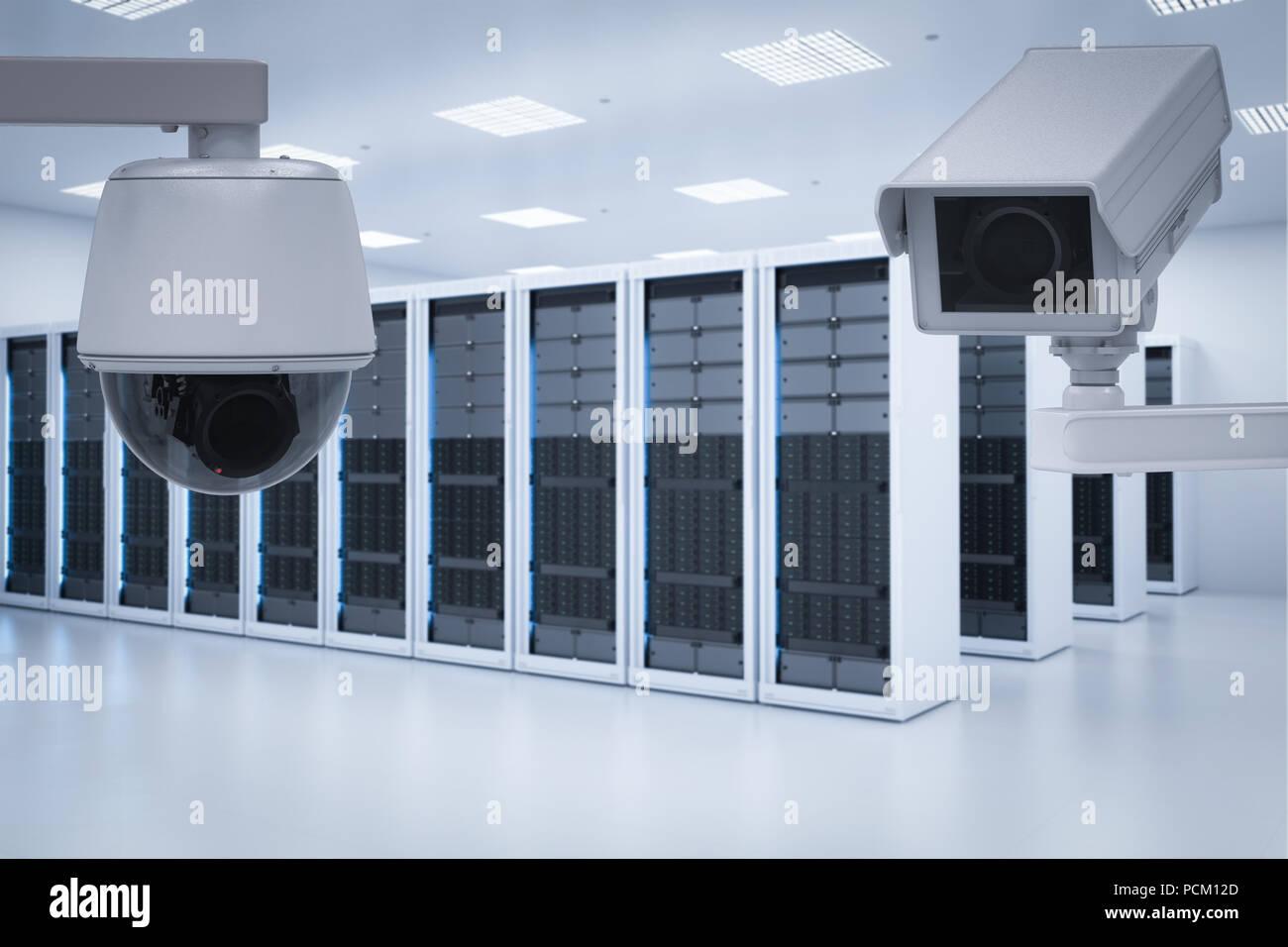 3d rendering surveillance camera in server room - Stock Image
