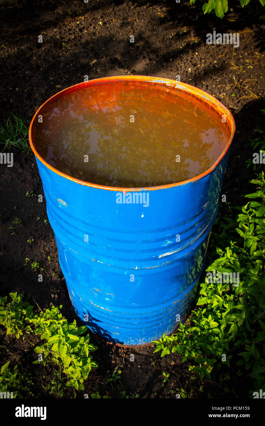Blue Recycle Barrel Stock Photos & Blue Recycle Barrel Stock