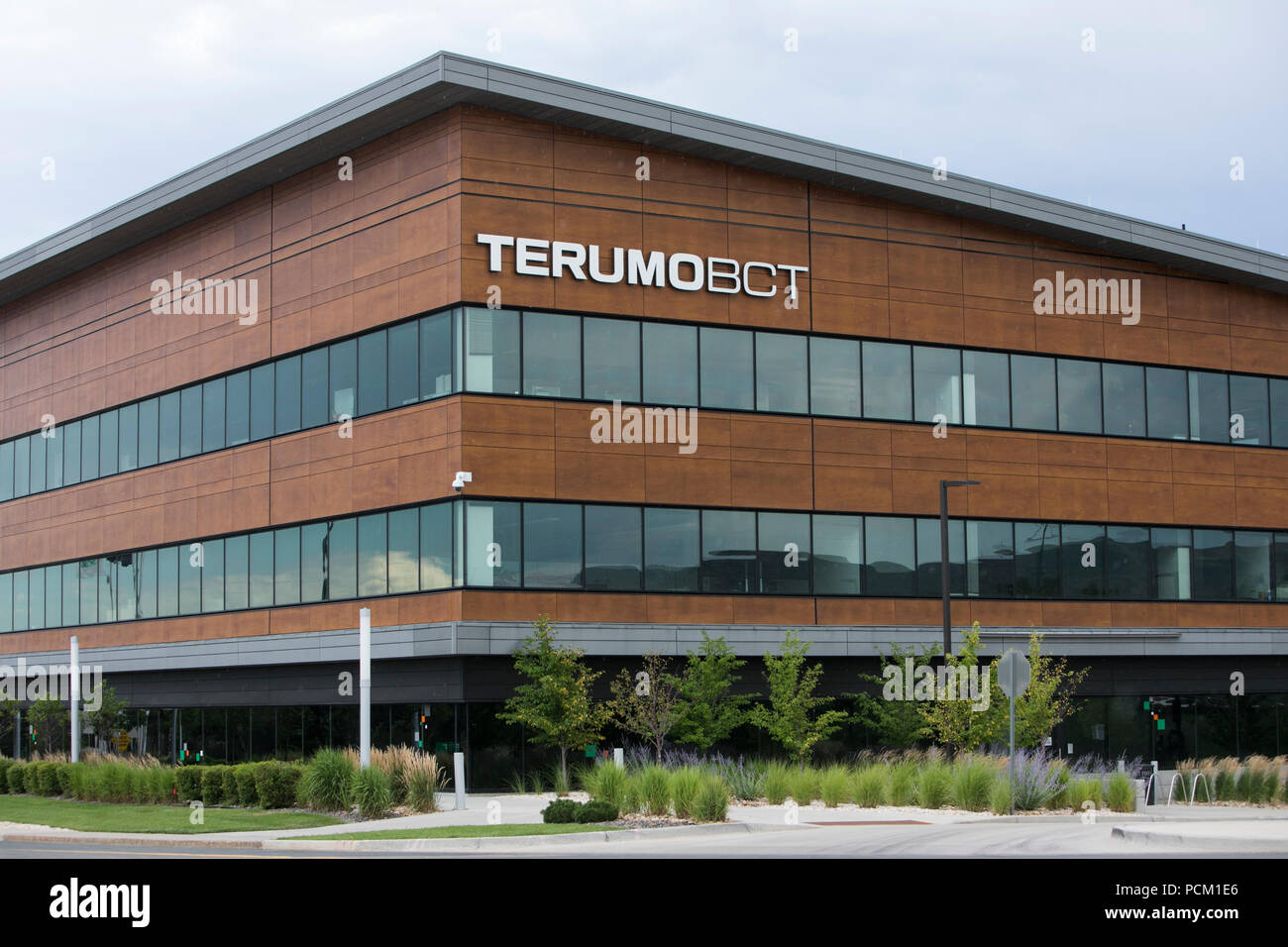 A logo sign outside of the headquarters of Terumo BCT in Lakewood, Colorado, on July 22, 2018. - Stock Image