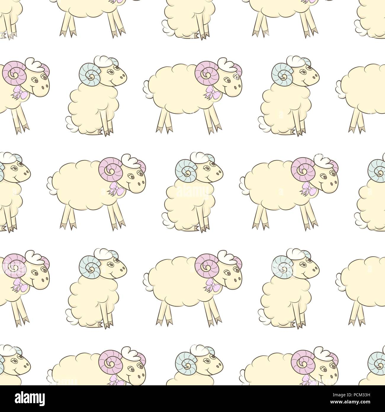 Cartoon Sheep Seamless Wallpaper Vector Illustration Pattern Background For Fabric