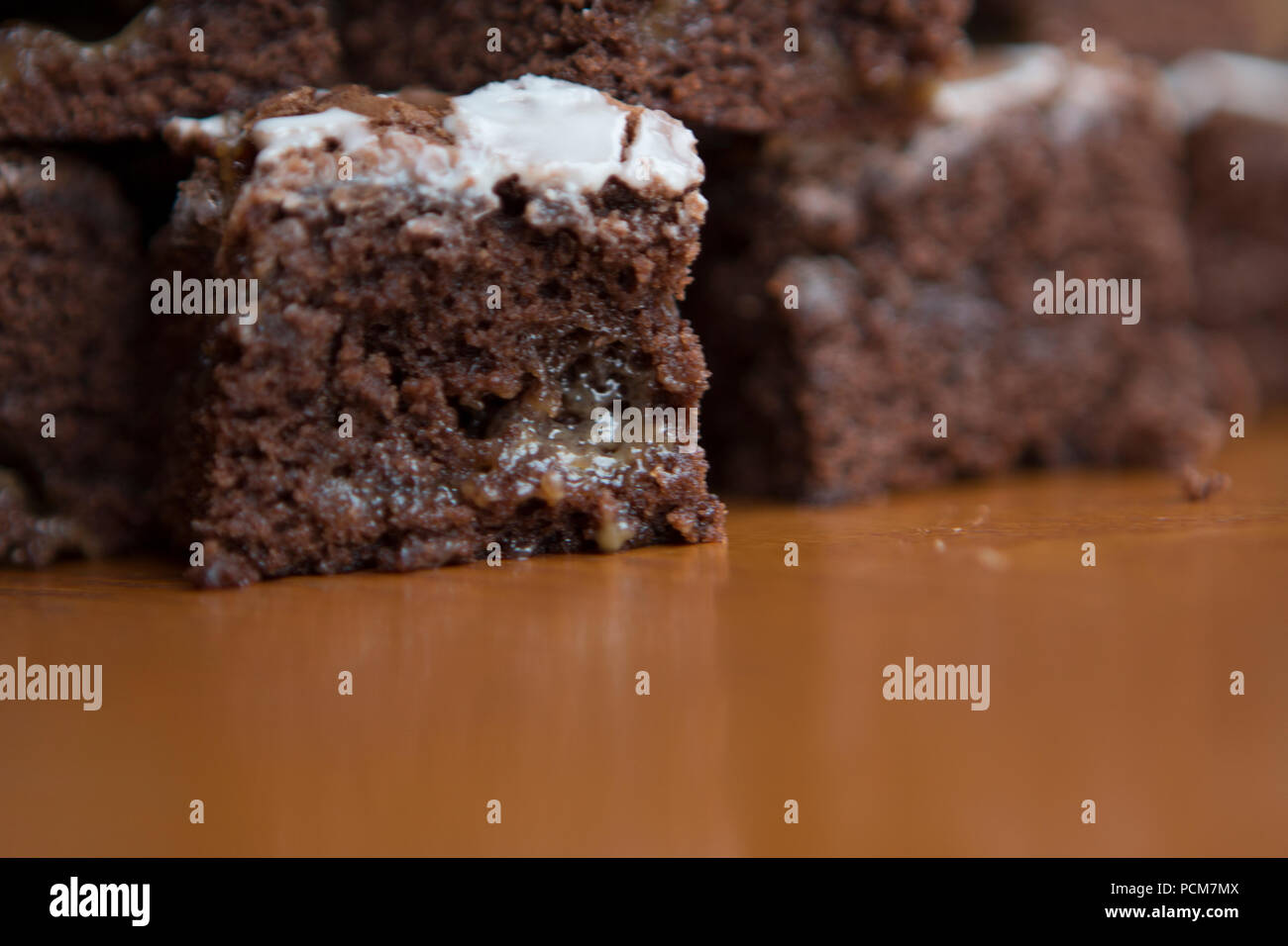 Salted caramel brownies - Stock Image