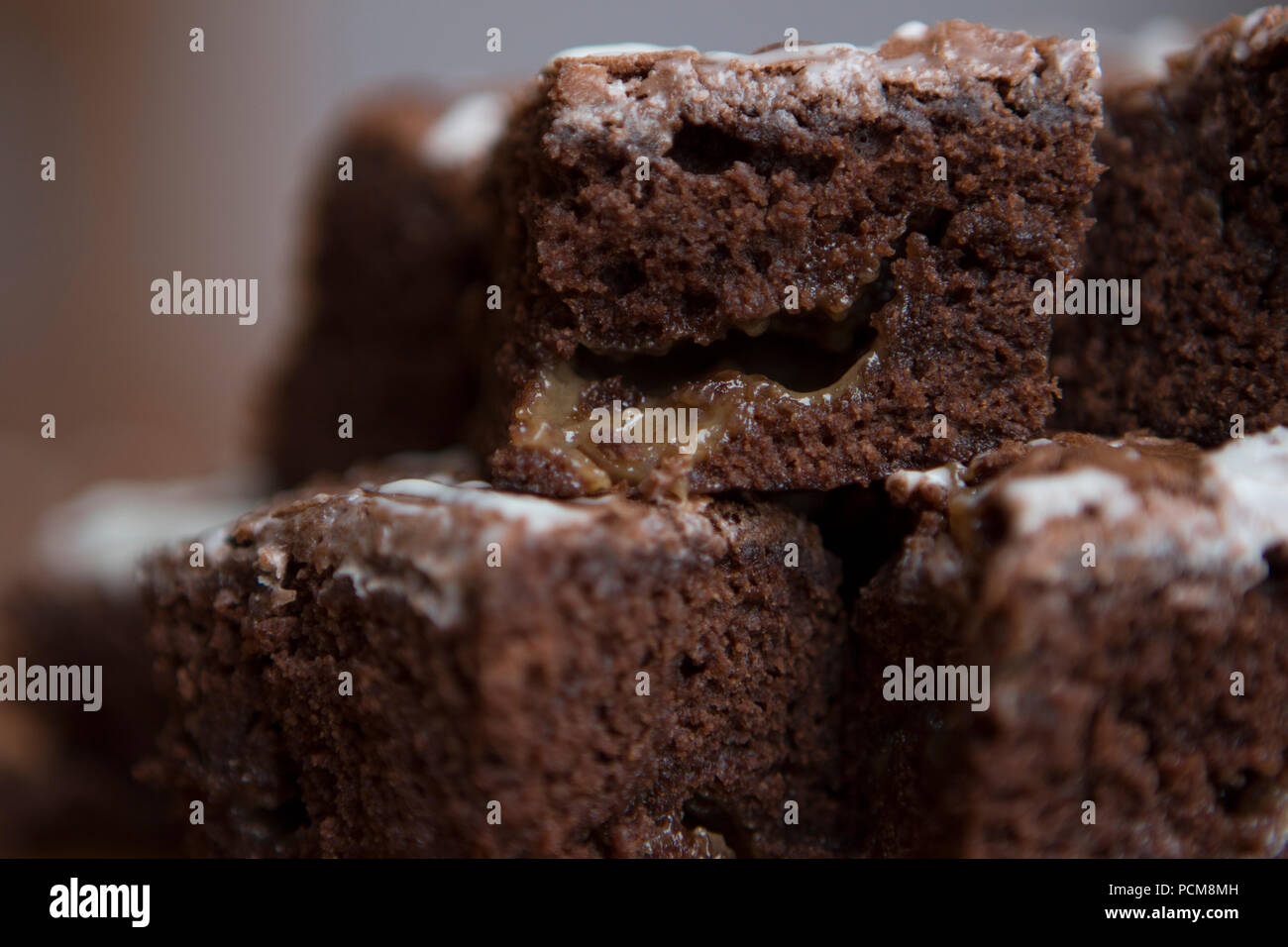 Salted caramel brownies - Stock Image