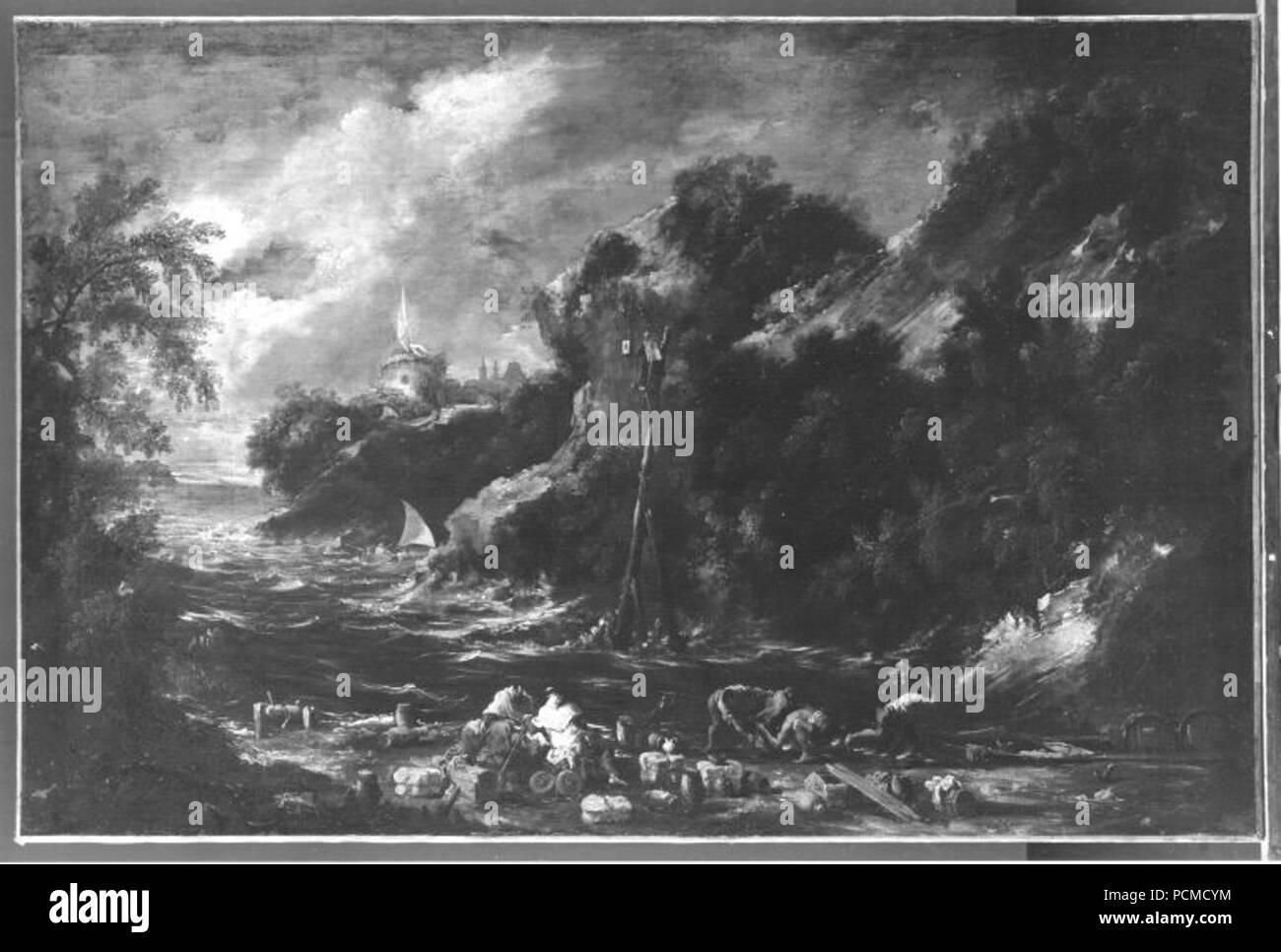 Alessandro Magnasco - Felsige Meeresbucht mit Mönchen und Schiffern - 2749  - - Stock Image