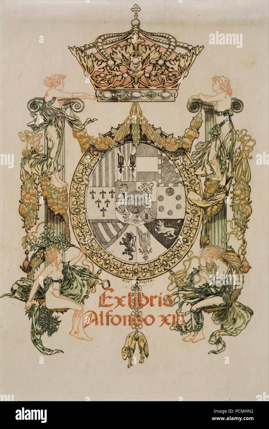 Alexandre de Riquer - Book-plate of Alfons XIII - - Stock Image