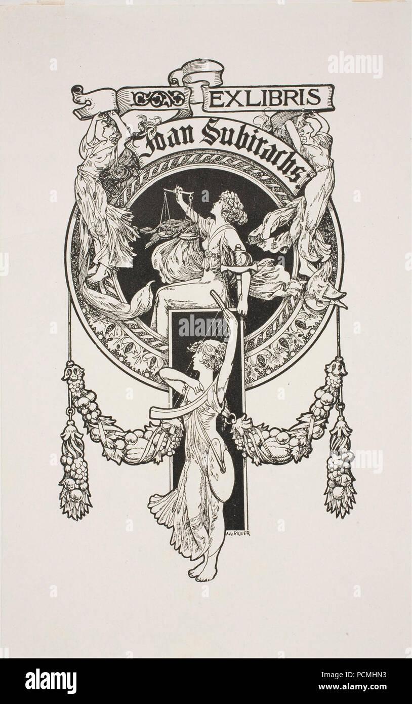 Alexandre de Riquer - Book-plate of Joan Subirachs - - Stock Image