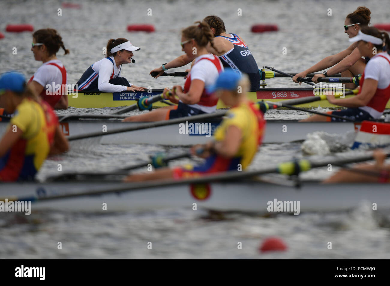 Glasgow    August  03 2018; European Championship Rowing, 2nd day of competition at the Strathclyde Country Park. PIctured Women's Eight GBR, Matilda Horn.   credit steven scott taylor / alamy live news Stock Photo