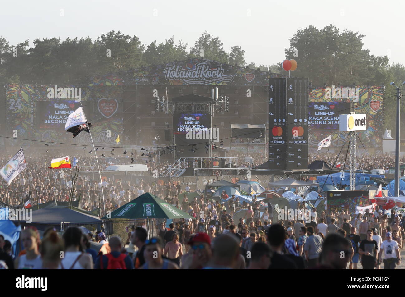 Kostrzyn, Polen, 3 August 2018,  24. Pol'and'Rock Festival is the biggest non-commercial festival in Europe. This year the festival will take place on 2-4 August in the town of Kostrzyn nad Odra in western Poland. Credit: SAO Struck/Alamy Live News - Stock Image