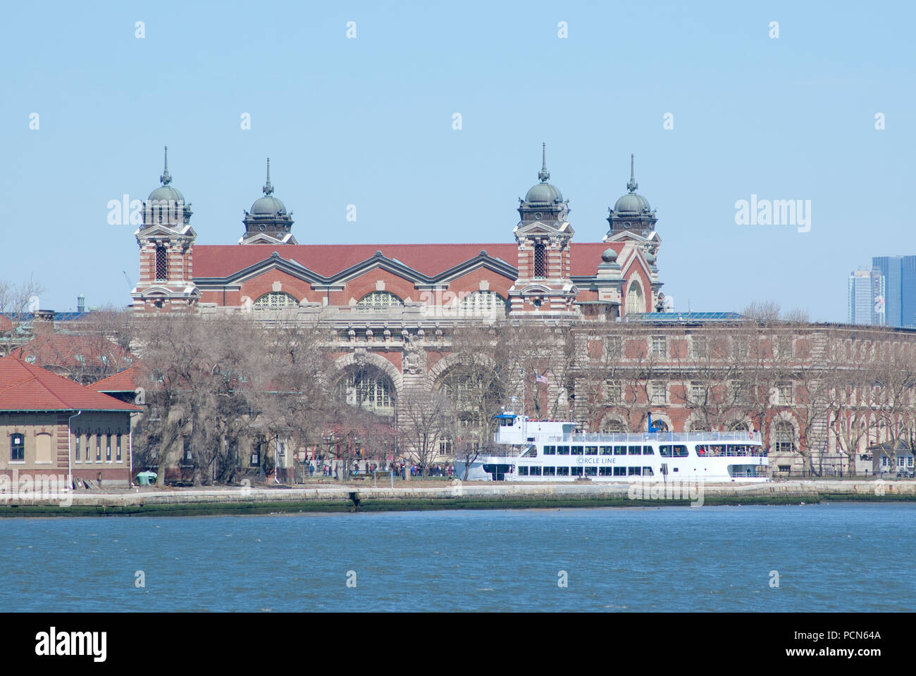Ellis Island in New York Harbor - Stock Image