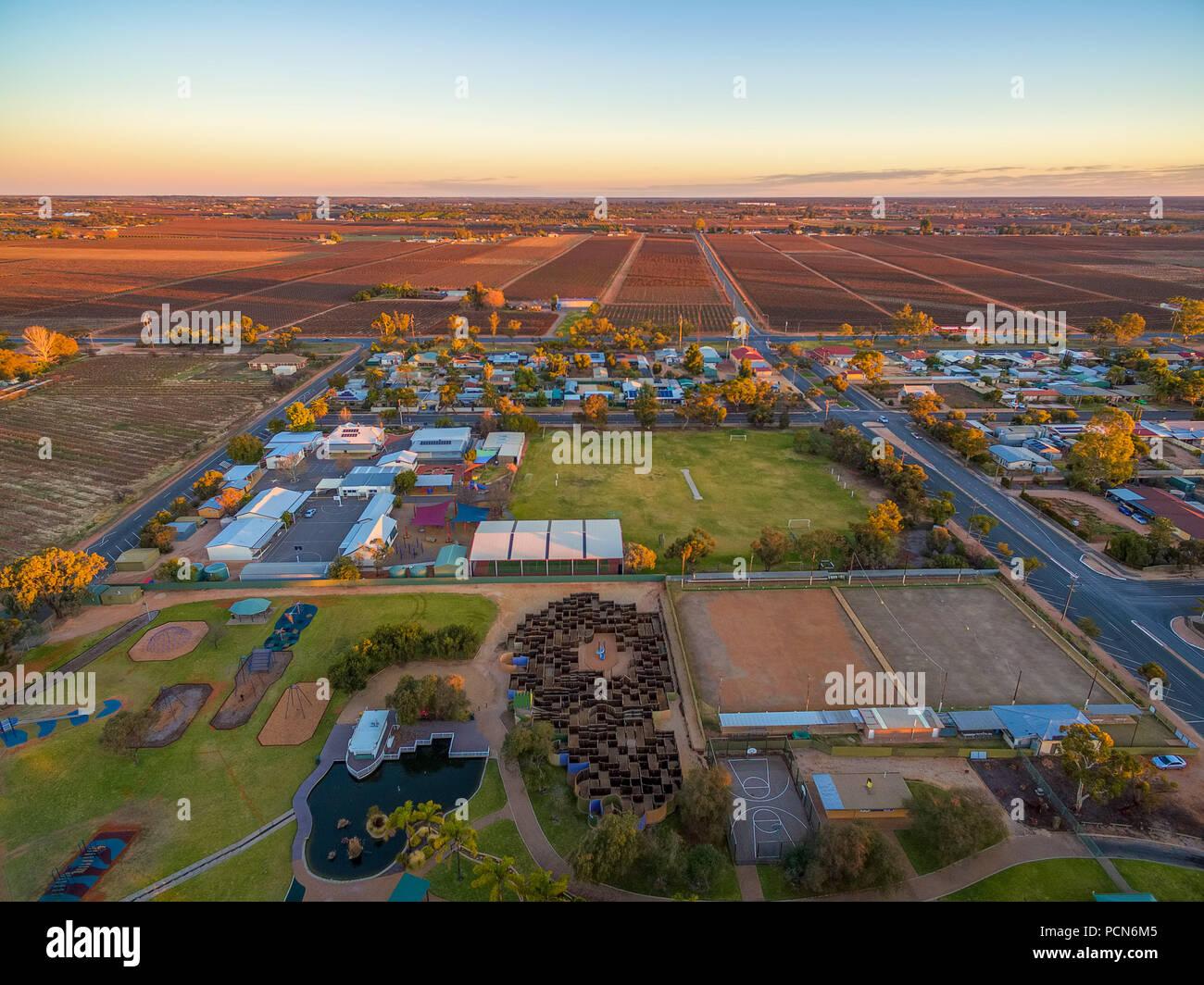 Aerial view of Monash adventure park, Riverland, South Australia Stock Photo