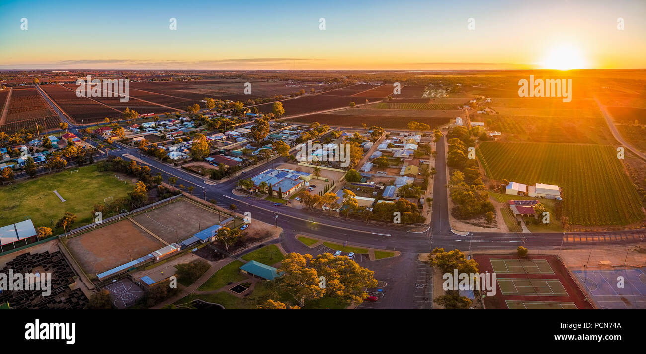 Aerial panorama of Monash - small town in South Australia at sunset Stock Photo