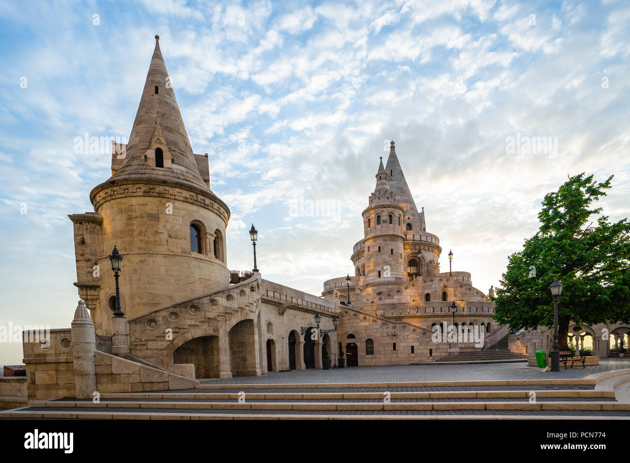 Fisherman's Bastion with sunrise in Budapest, Hungary. - Stock Image
