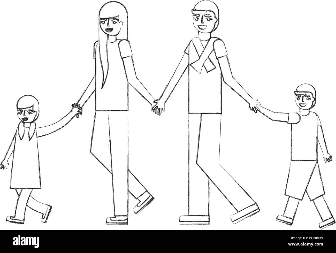 parents and son daughter holding hands vector illustration hand drawing - Stock Image