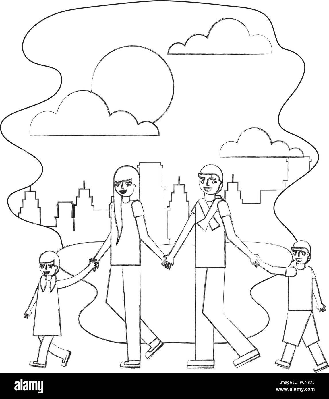 parents and son daughter holding hands in the park city vector illustration hand drawing - Stock Image