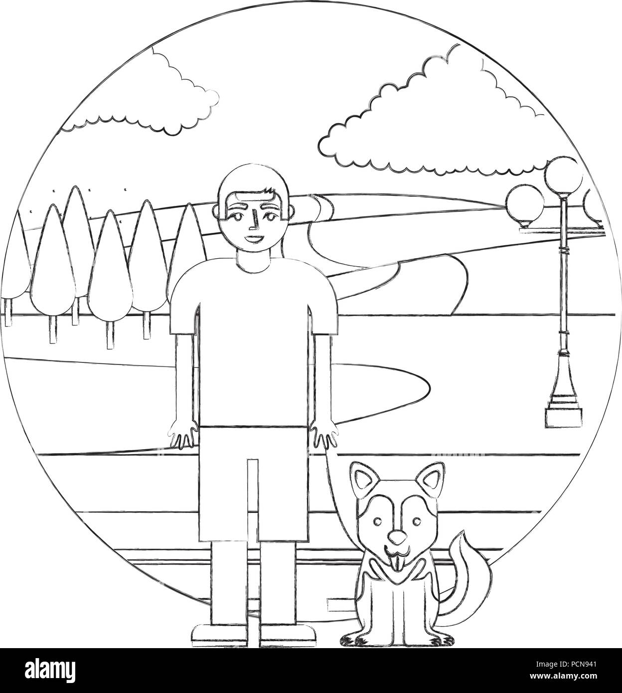 boy with her siberian dog in the street park vector illustration hand drawing - Stock Image