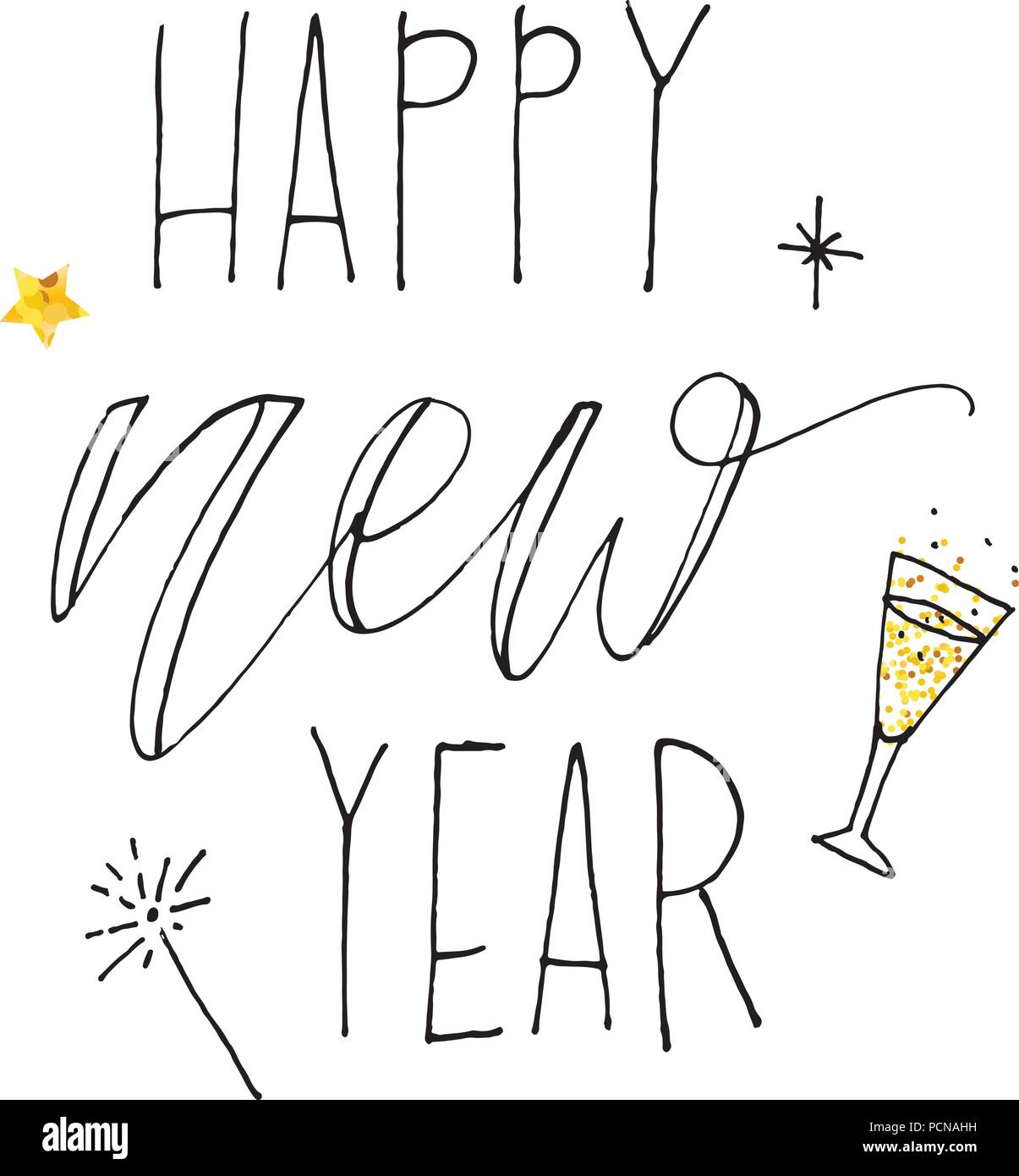 Happy New Year Vector Gradient Phrase Lettering Calligraphy ...