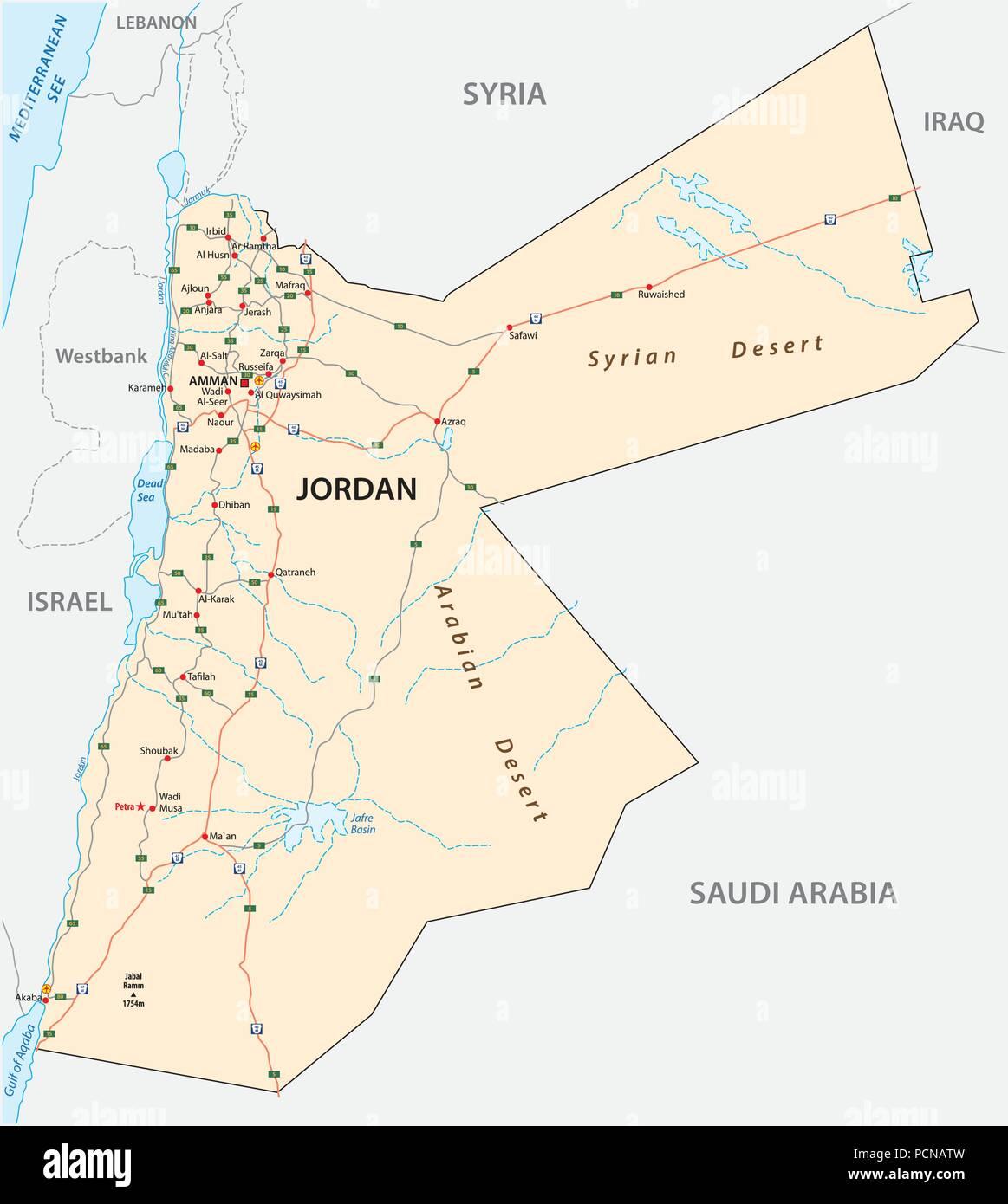 Kingdom of jordan road vector map stock vector art illustration kingdom of jordan road vector map publicscrutiny Choice Image