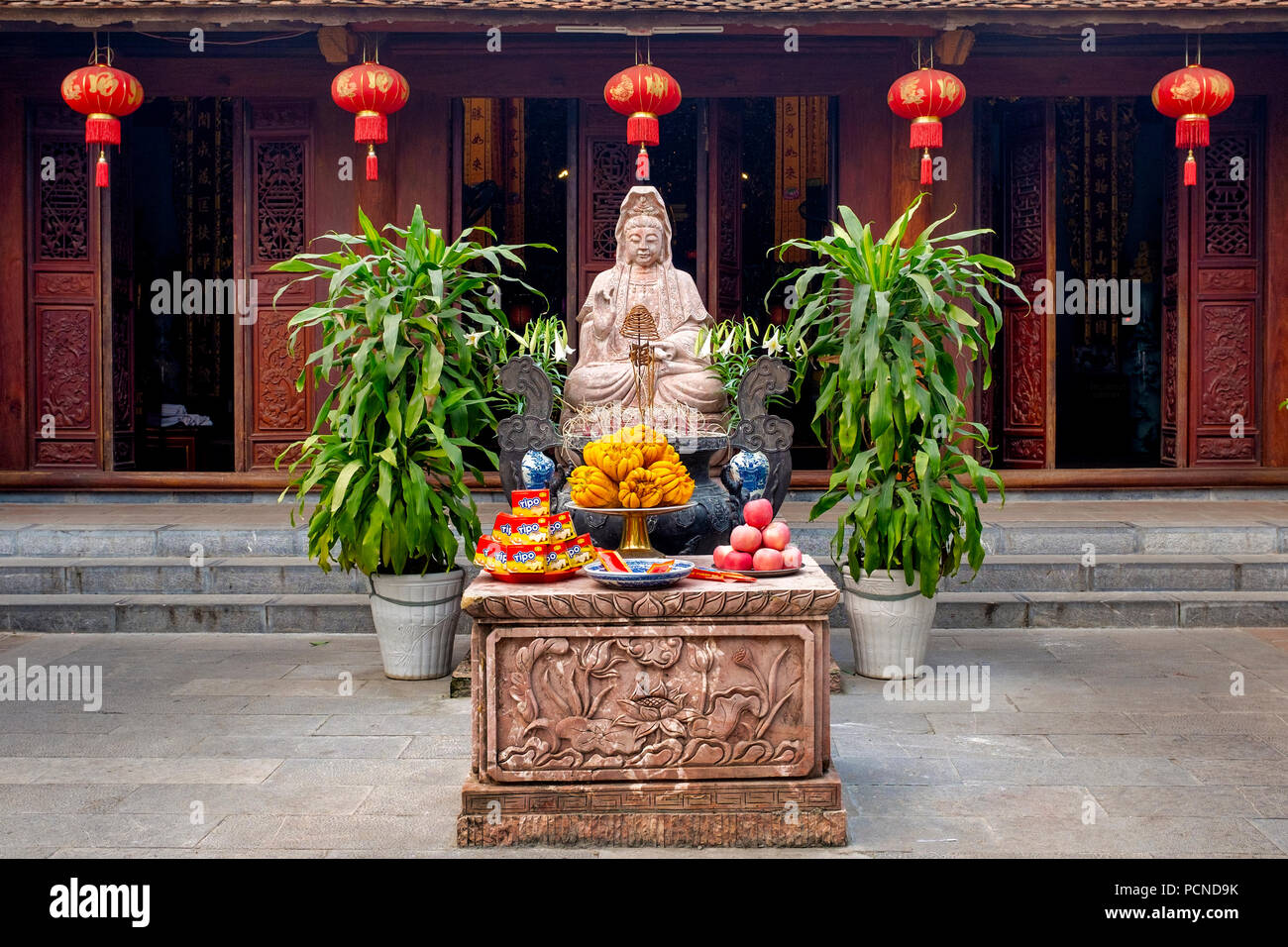 Avalokitesvara shrine in the One Pillar Pagoda Complex, Hanoi, Vietnam - Stock Image