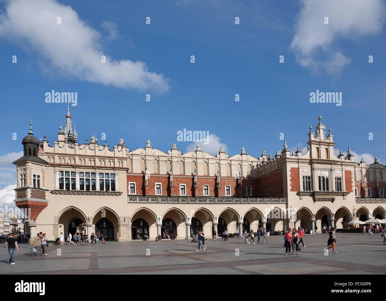 square infront of Cloth Hall. old town krakow, lesser poland, poland, europe Stock Photo