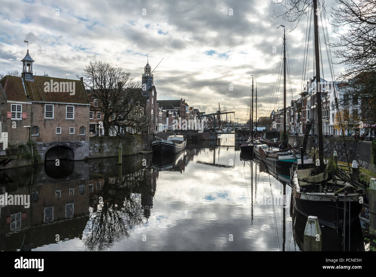 Delfhaven harbour, Netherlands. The church on the left is where the Pilgrim Fathers left from to go to America Stock Photo