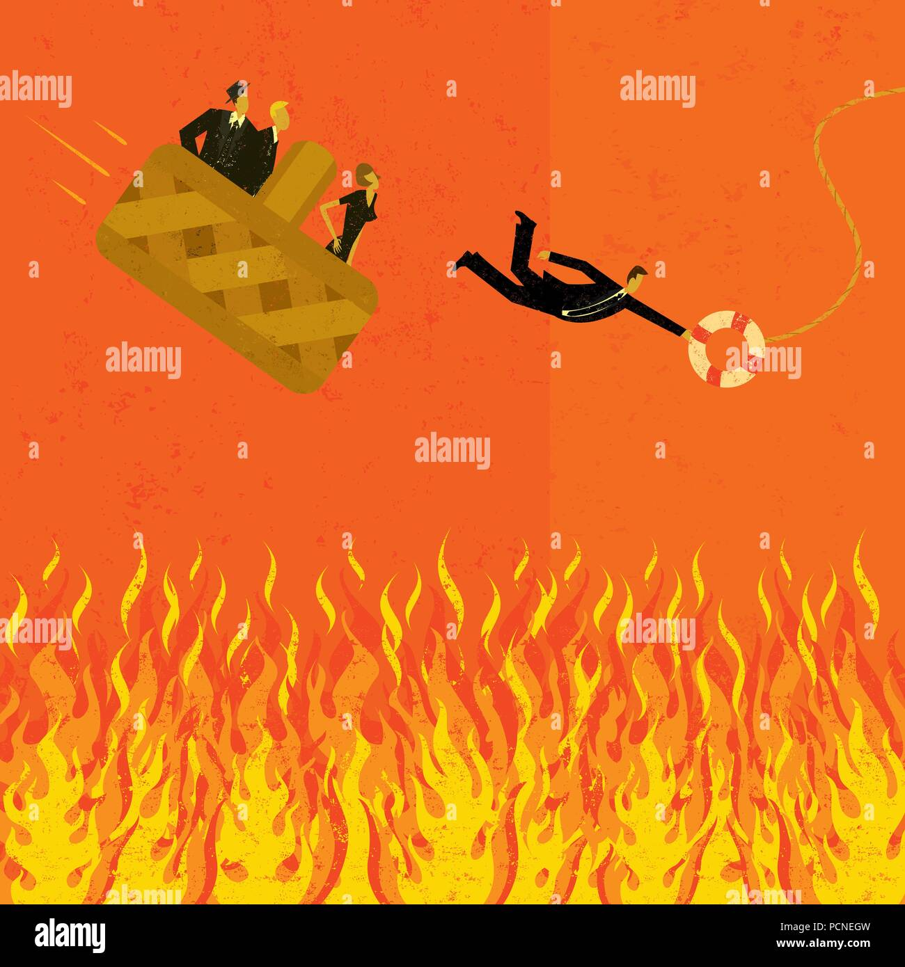 "Avoiding going to hell in a handbasket Business people ""going to hell in a hand basket"" with one man jumping for a life preserver. - Stock Vector"
