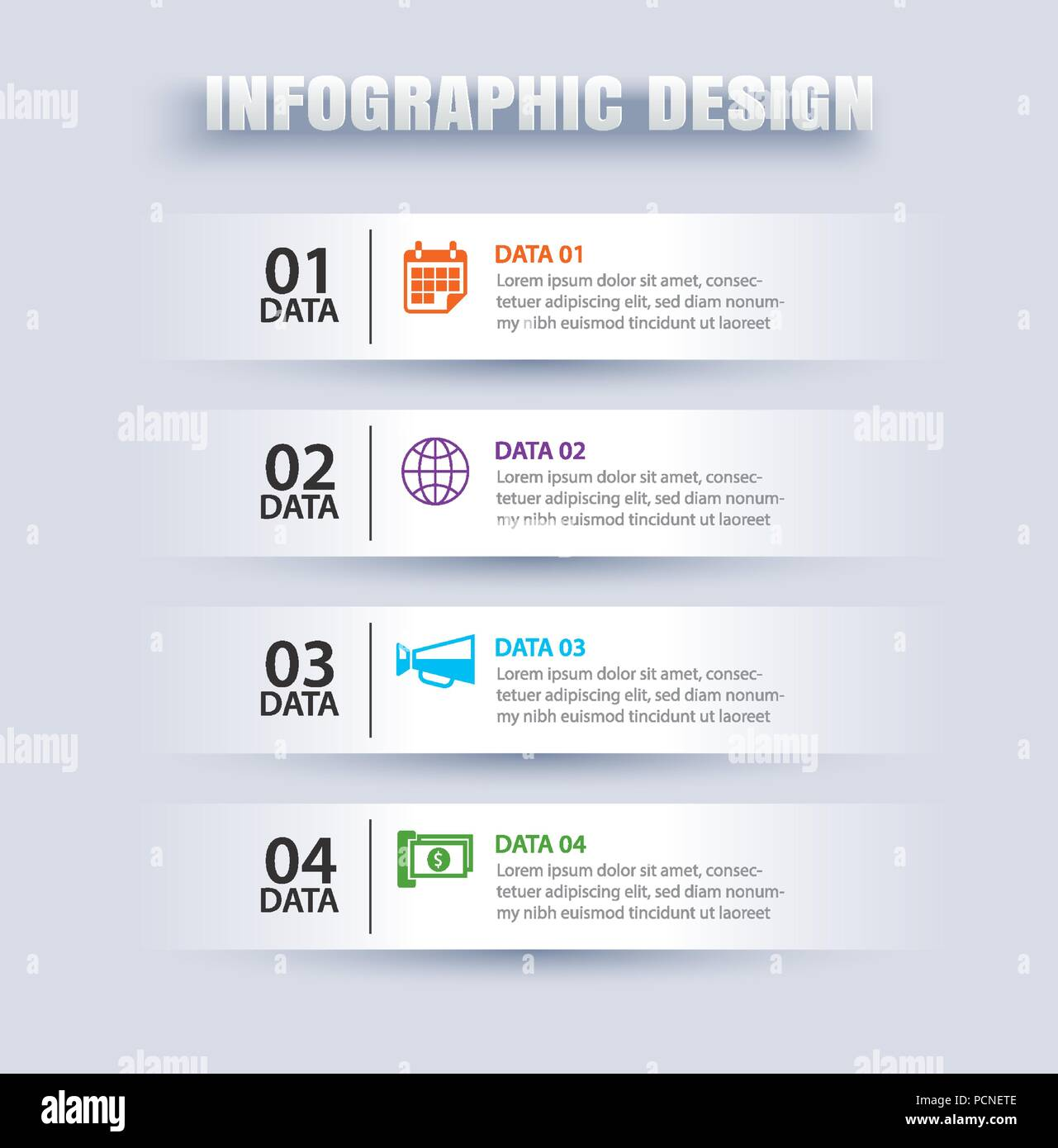 Infographics tab in horizontal paper index with 4 data