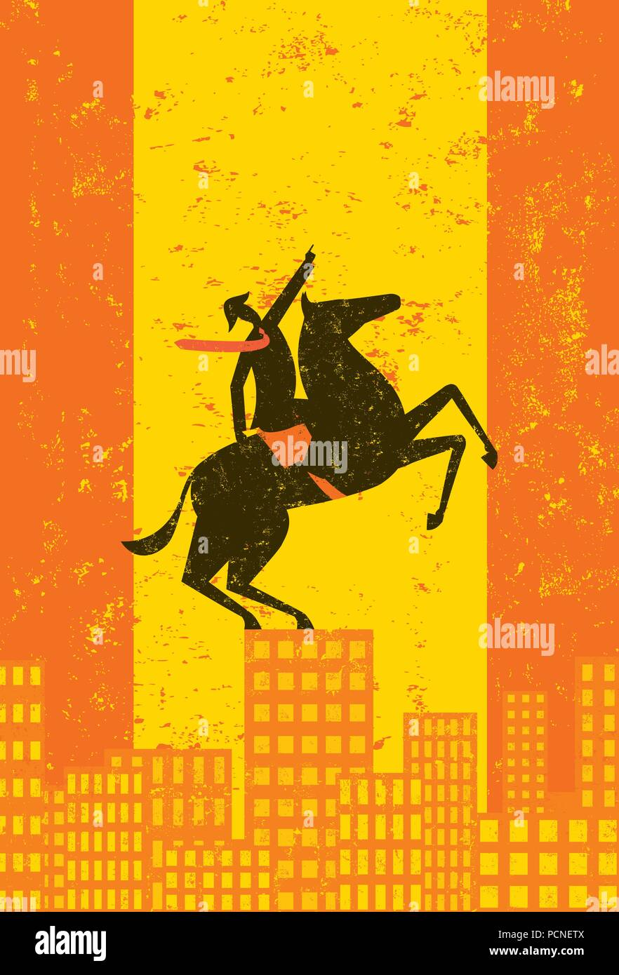 Business Titan. A business leader, looking Napoleon-esque on his horse, points upward on top of a city skyline. - Stock Vector