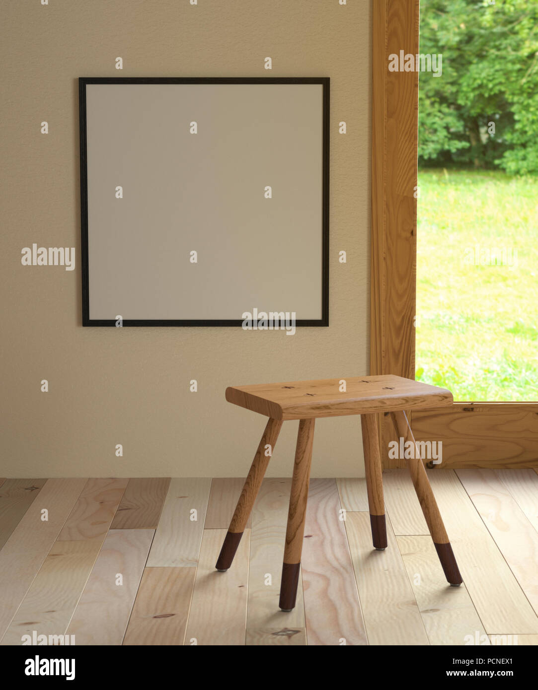 3d illustration interior. Mockup a square poster 56 x 56 cm inside building. Room with wooden floor and window overlooking the nature. Backless stool  - Stock Image
