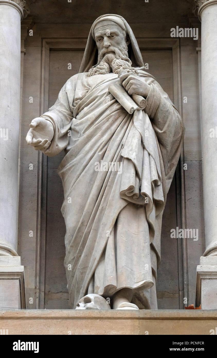 Prophet Ezekiel, statue on the facade of Saint Augustine church in Paris, France - Stock Image