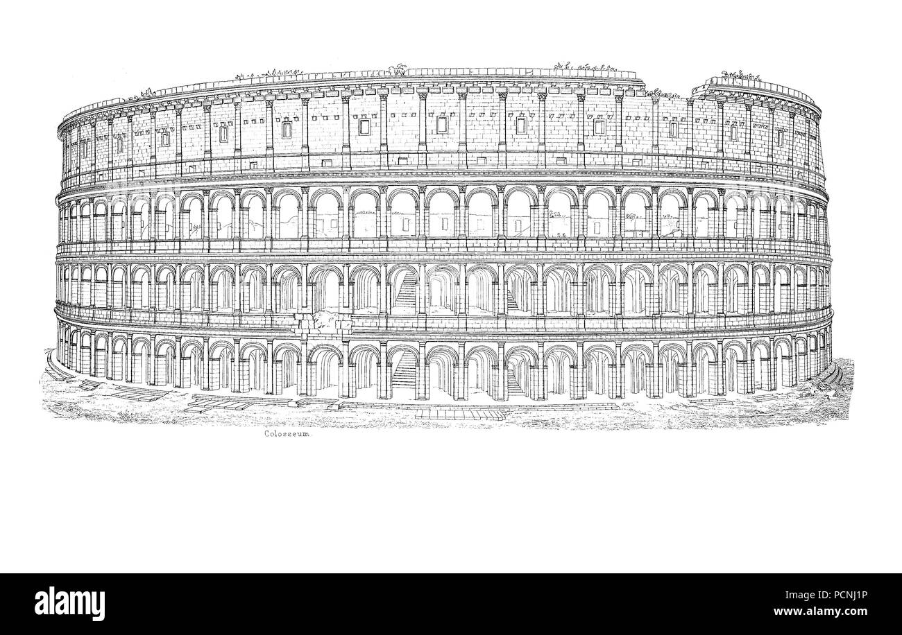 Colosseum or Coliseum, also known as the Flavian Amphitheatre, an oval amphitheatre in the centre of the city of Rome, Italy, digital improved reproduction of an historical image from the year 1885 - Stock Image