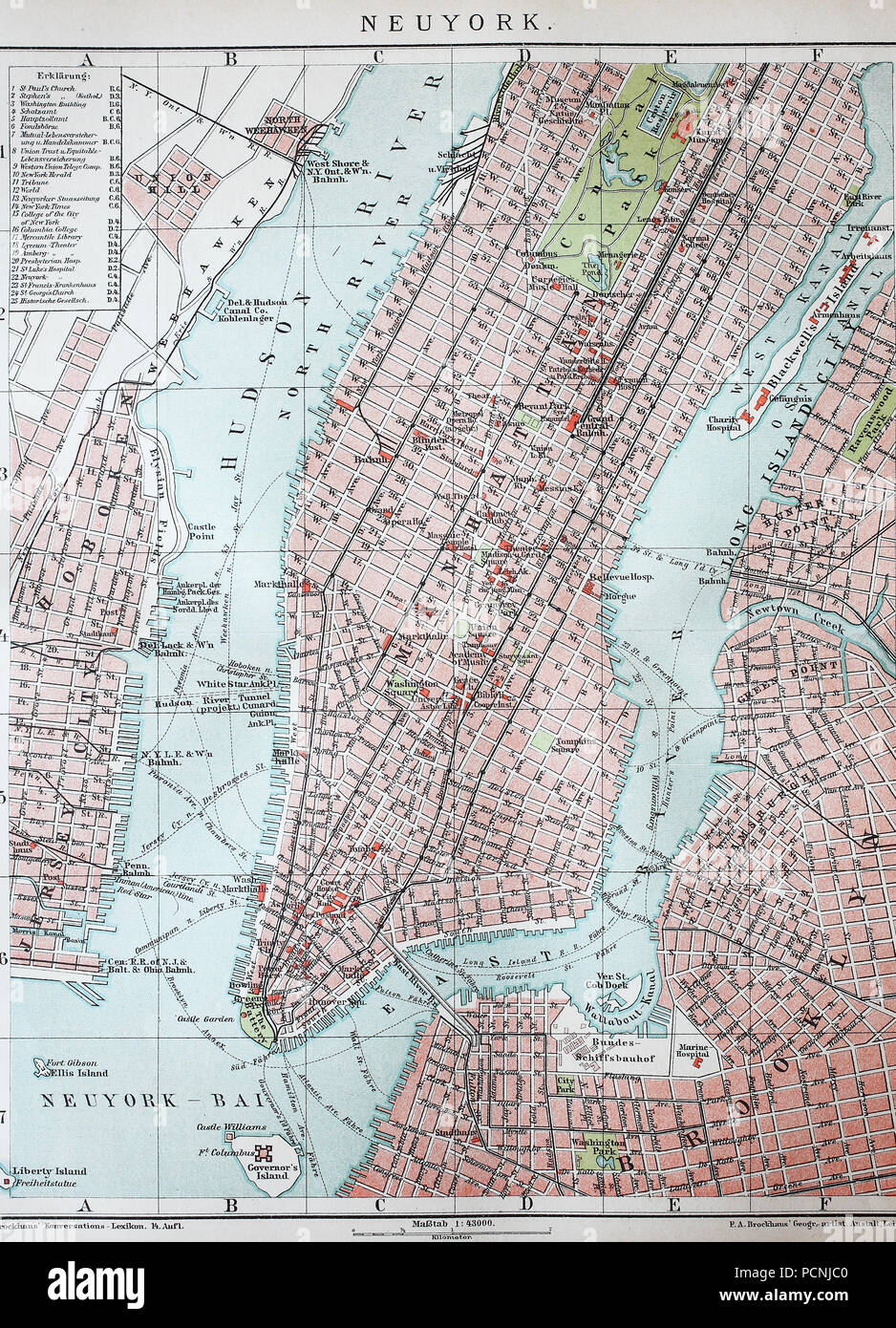 Map Of Old New York.Old City Map Of New York And Manhattan Usa Digital Improved