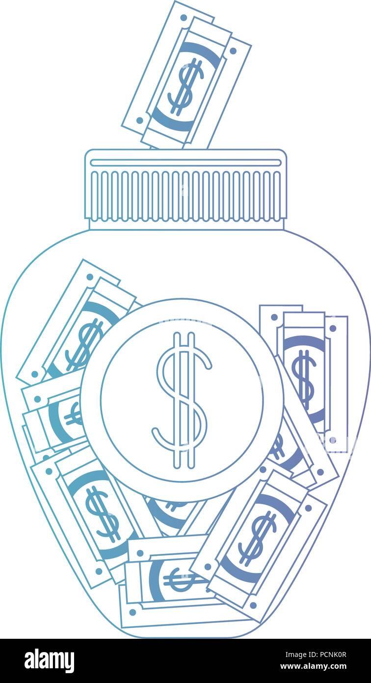 jar with bills money Stock Vector
