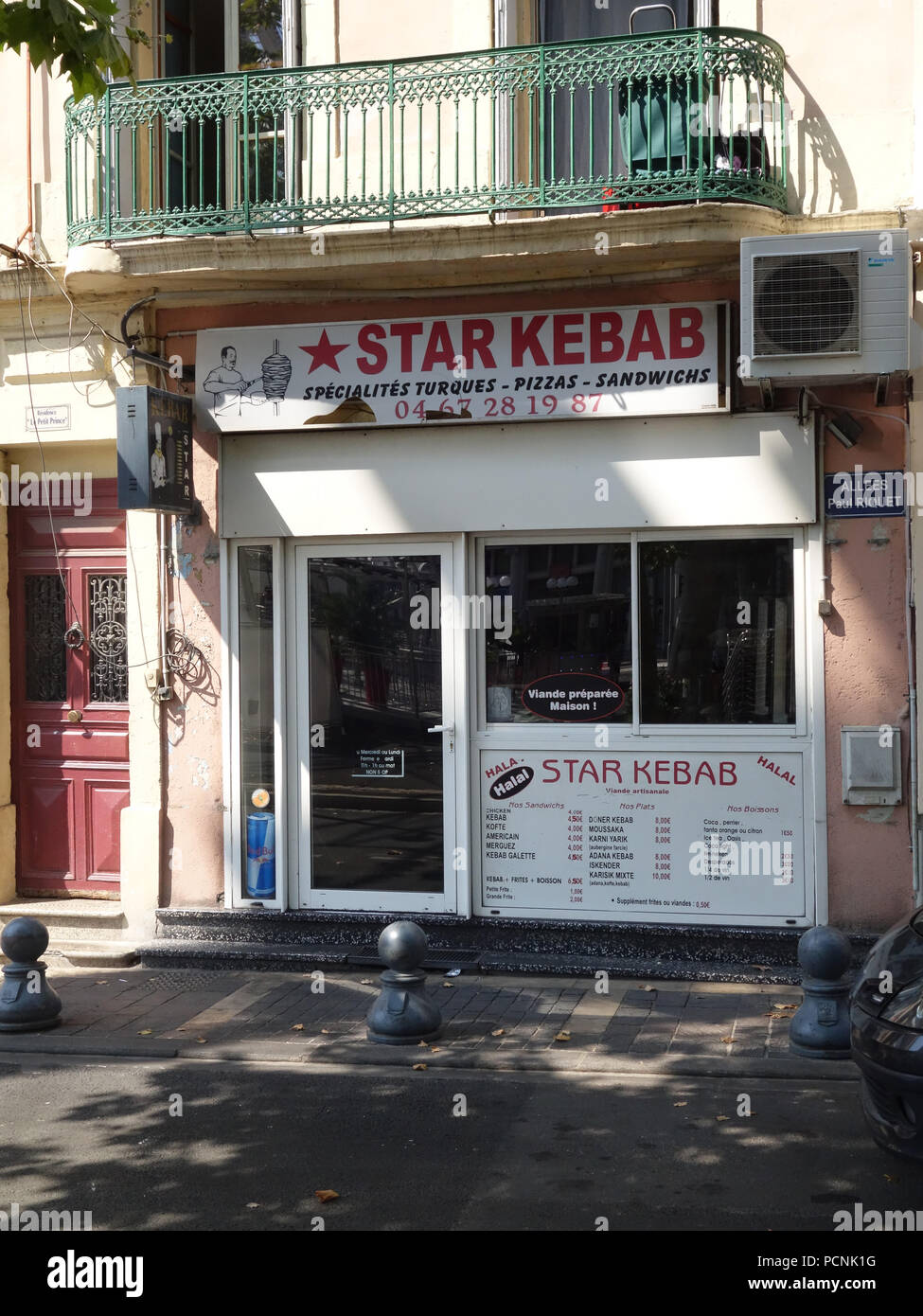 In And Out Beziers shop front of the star kebab restaurant in beziers, france