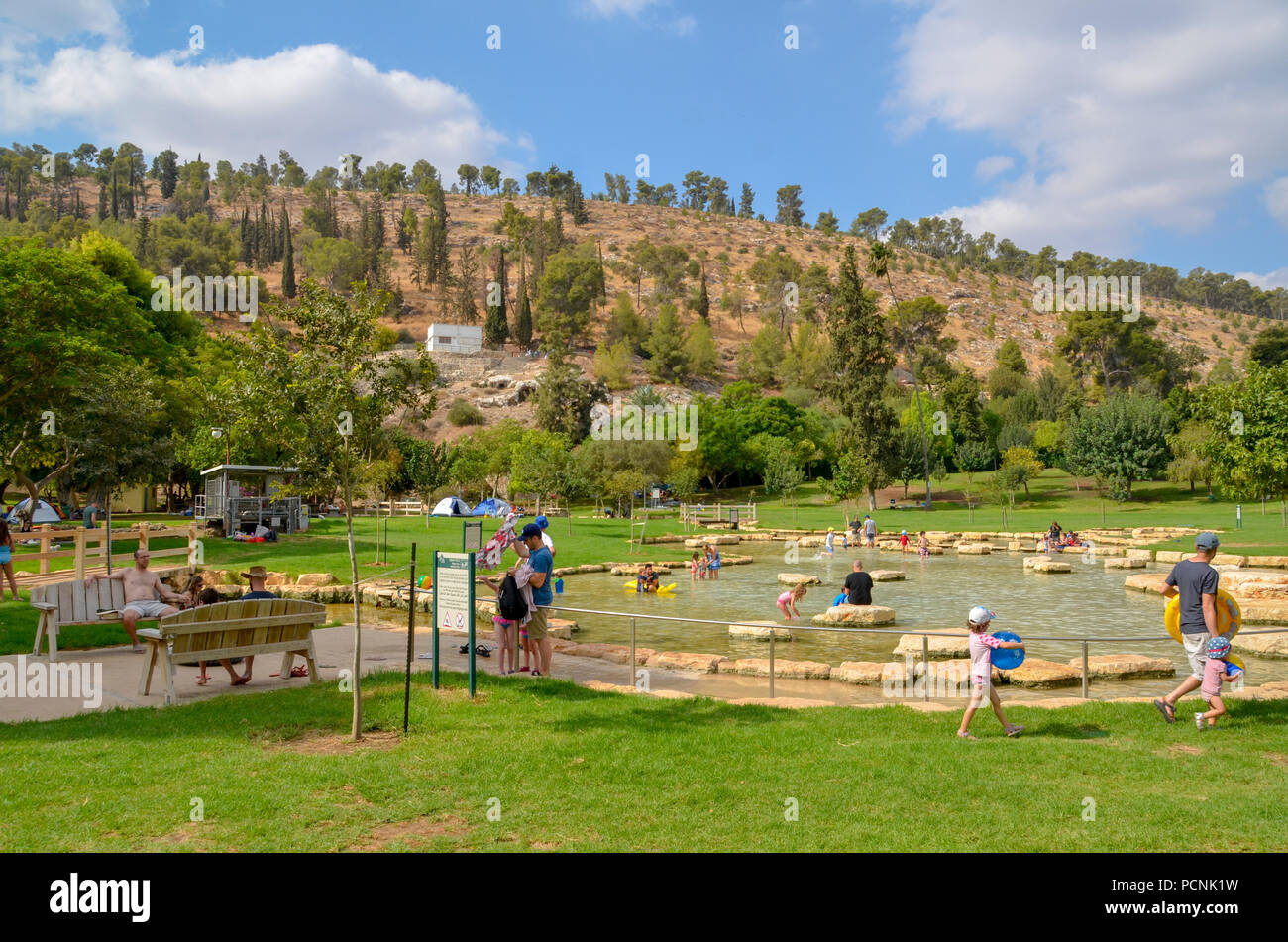 Israel, Jezreel Valley, Maayan Harod the Spring of Harod National Park. The spring at Harod is believed to be the 'well of Harod' at which Gideon sele - Stock Image