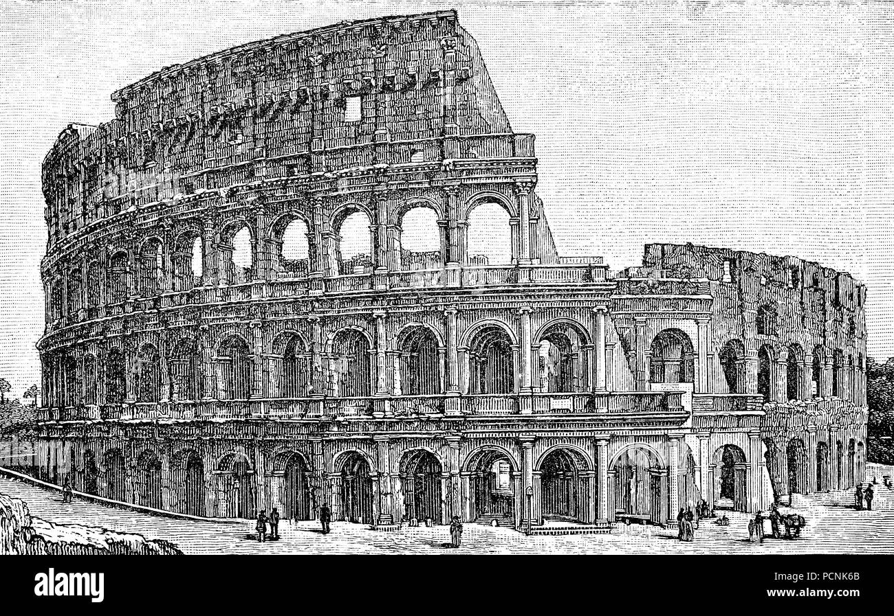 The Colosseum or Coliseum, also known as the Flavian Amphitheatre, is an oval amphitheatre in the centre of the city of Rome, Italy., digital improved reproduction of an historical image from the year 1885 - Stock Image