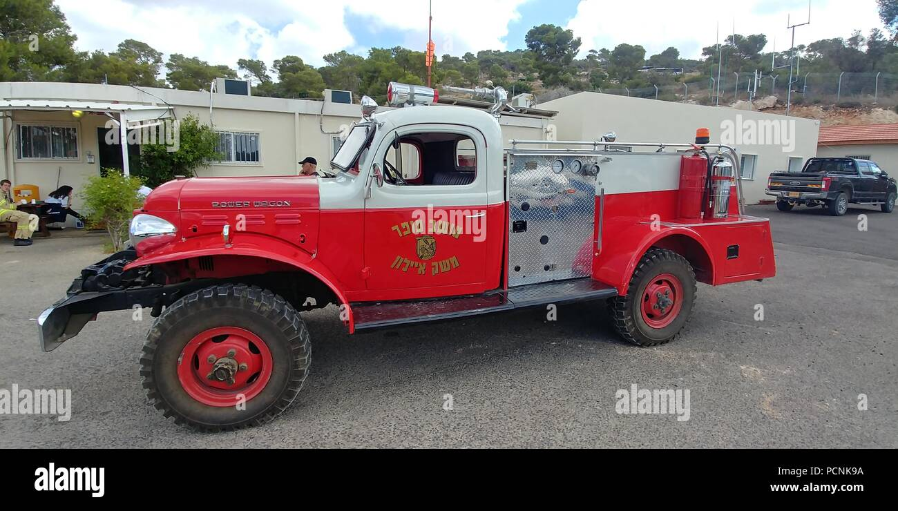 an Old fire truck in the fire brigade museum, Israel - Stock Image