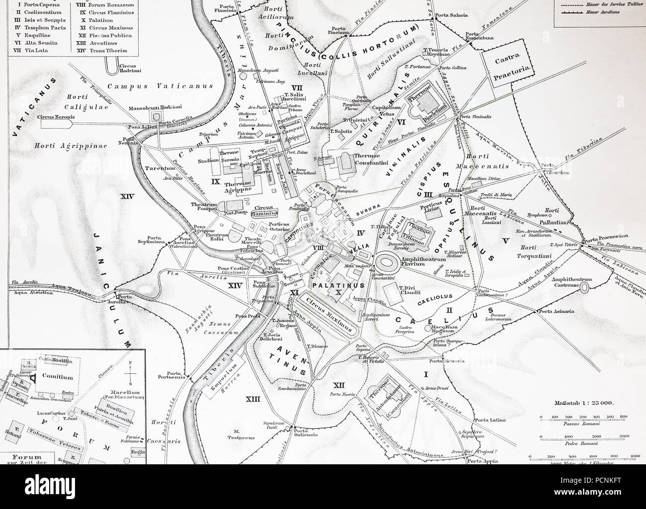 map of the historical Rome, Italy, digital improved reproduction of an historical image from the year 1885 - Stock Image