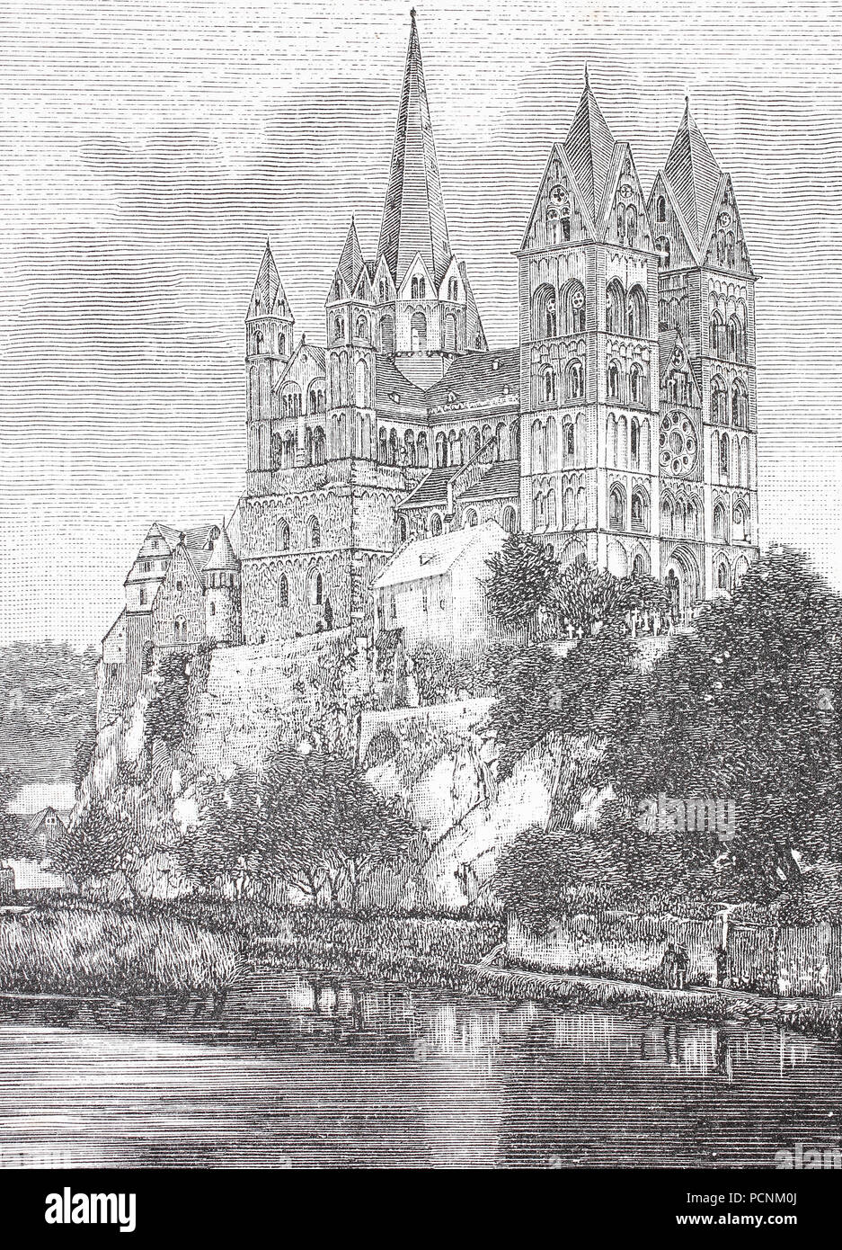 St George's Cathedral, Limburg, Hesse, Germany, digital improved reproduction of an historical image from the year 1885 - Stock Image