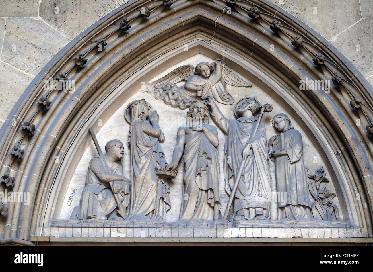Bass relief on the portal of the Basilica of Saint Clotilde in Paris, France Stock Photo