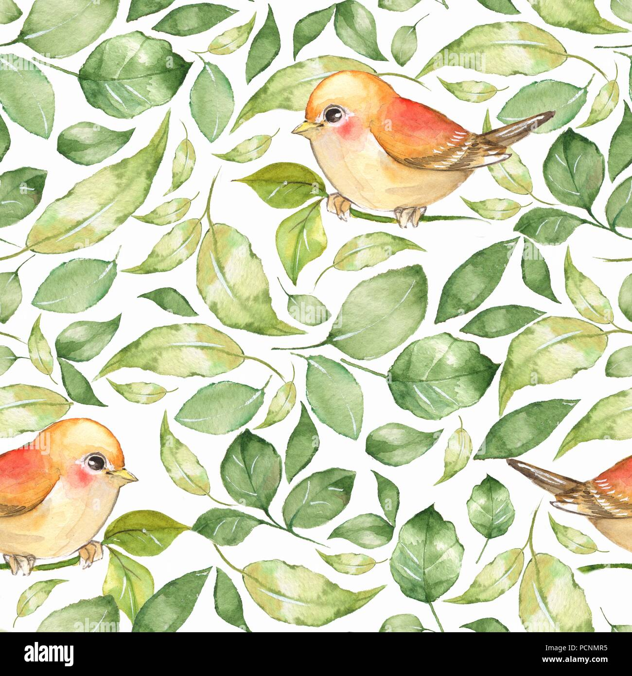 Spring Flowers And Birds Hand Drawn Watercolor Floral Seamless