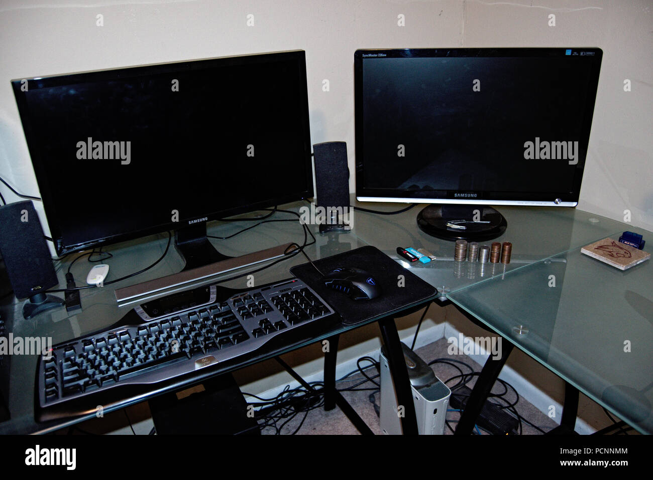 Home Office With Glass Desktop And Two Screens Stock Photo Alamy