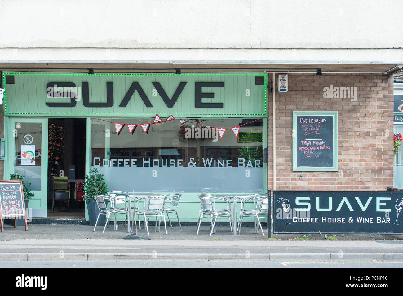 Suave Wine Bar, a play on words, in Westbury, Wiltshire, UK - Stock Image