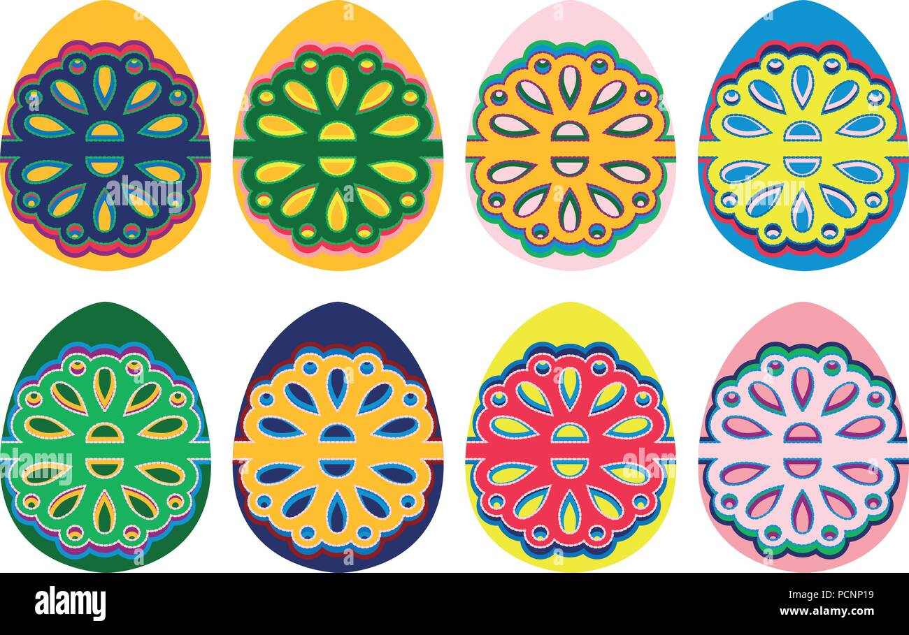 Graphic, illustration set of 8 multicolor Easter eggs in boho, folk, ethno style and design inspired by polish folklore art. Multicolored pattern in t - Stock Vector