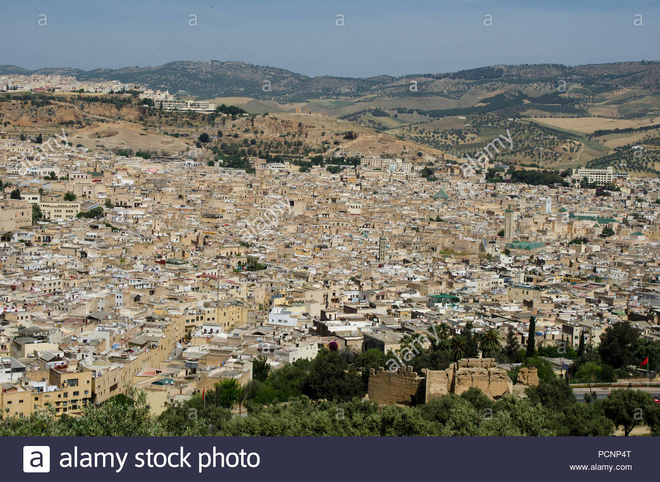 Aerial panorama of the old Medina in Fes, Morocco - Stock Image