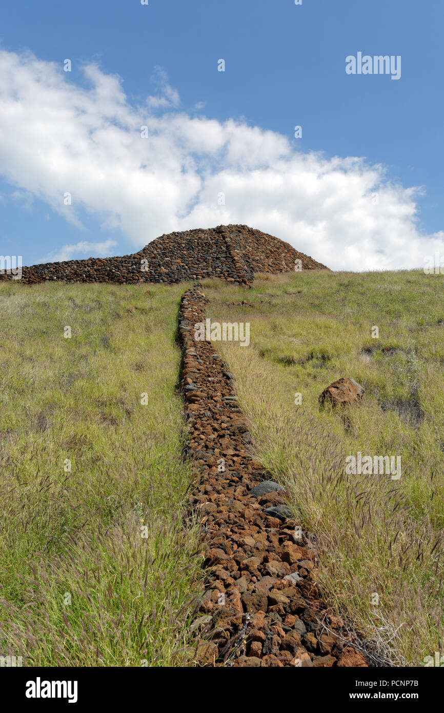 Pu'ukohola Heiau National Historic Site, Ancient Hawaiian Temple, Big Island, USA. - Stock Image