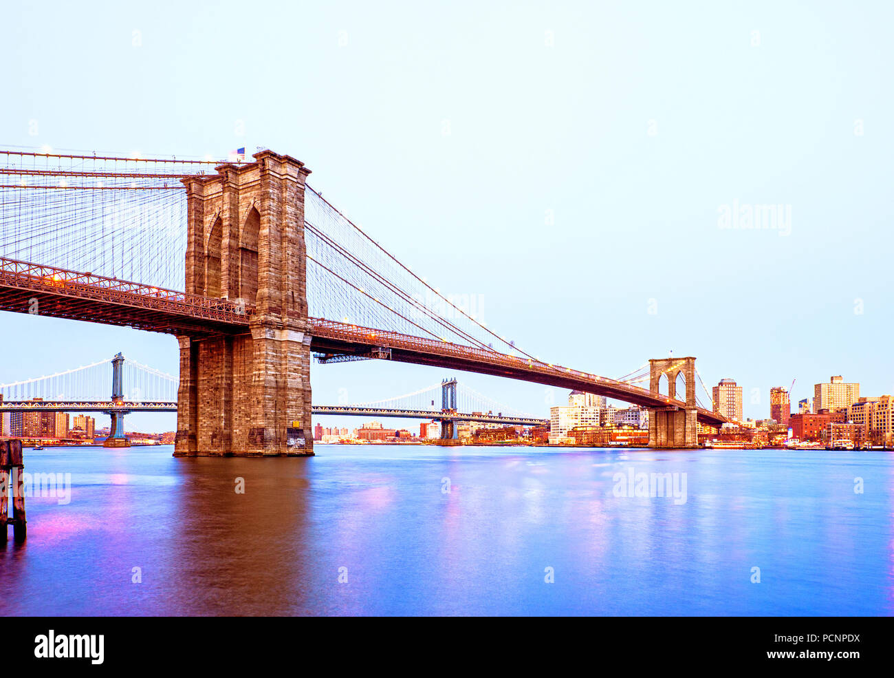 Brooklyn Bridge New York City Dusk - Stock Image